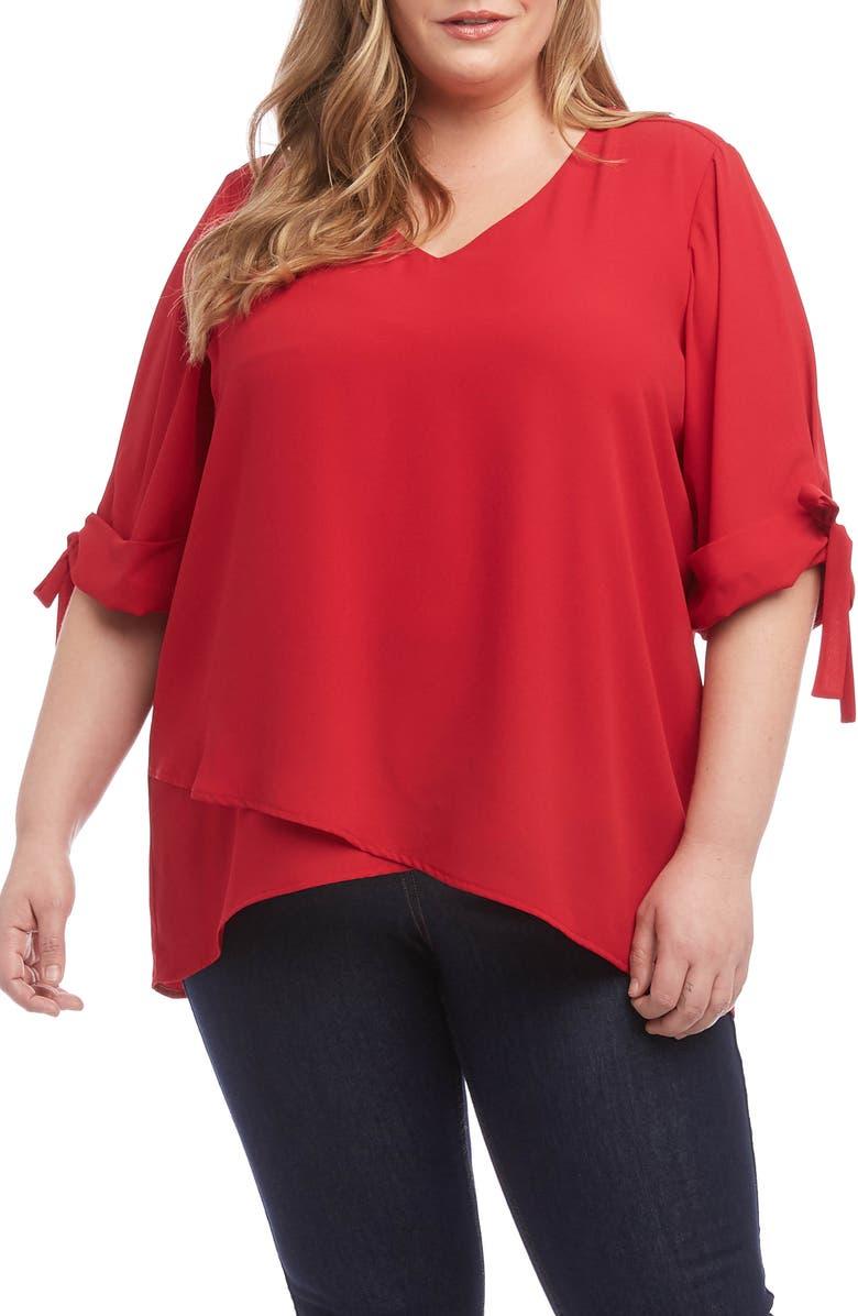 KAREN KANE Bow Sleeve Top, Main, color, RED