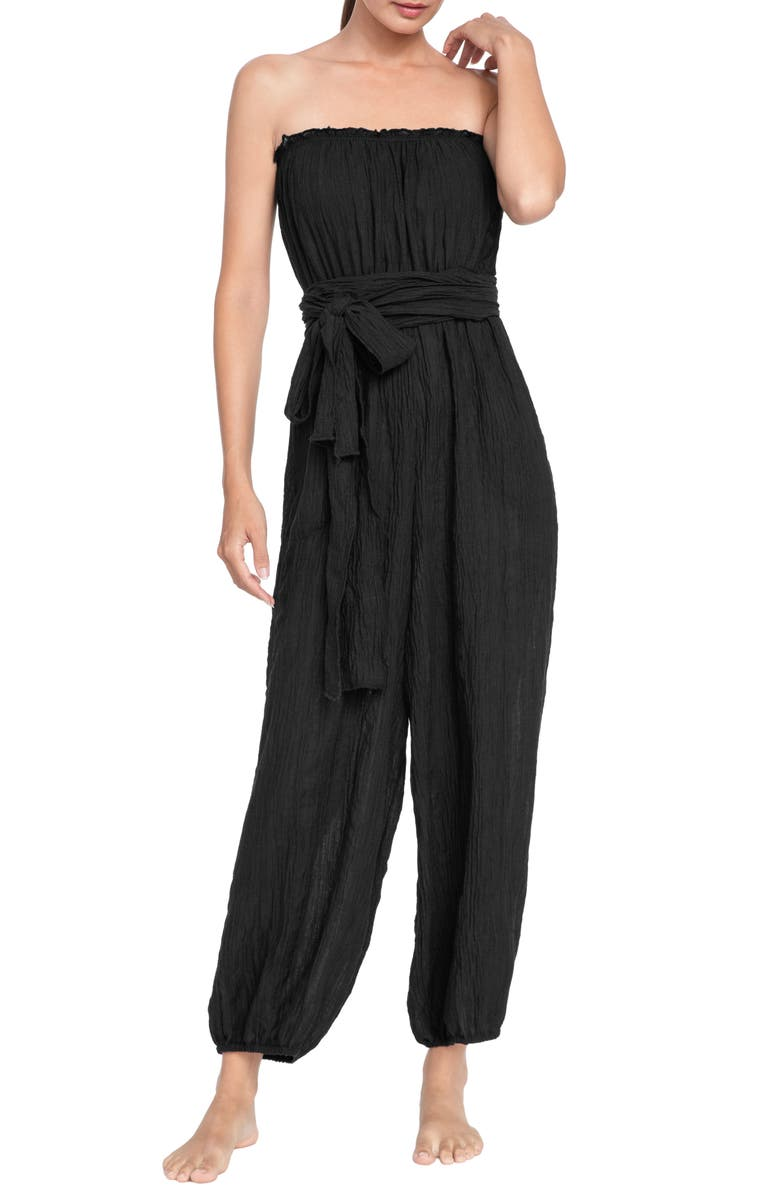 ROBIN PICCONE Michelle Strapless Cover-Up Jumpsuit, Main, color, BLACK