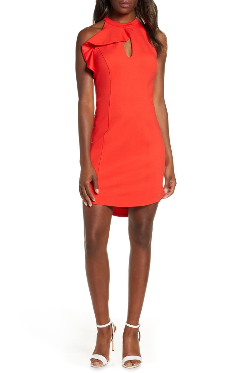 ADELYN RAE Melissa Sheath Dress, Main, color, FIESTA RED