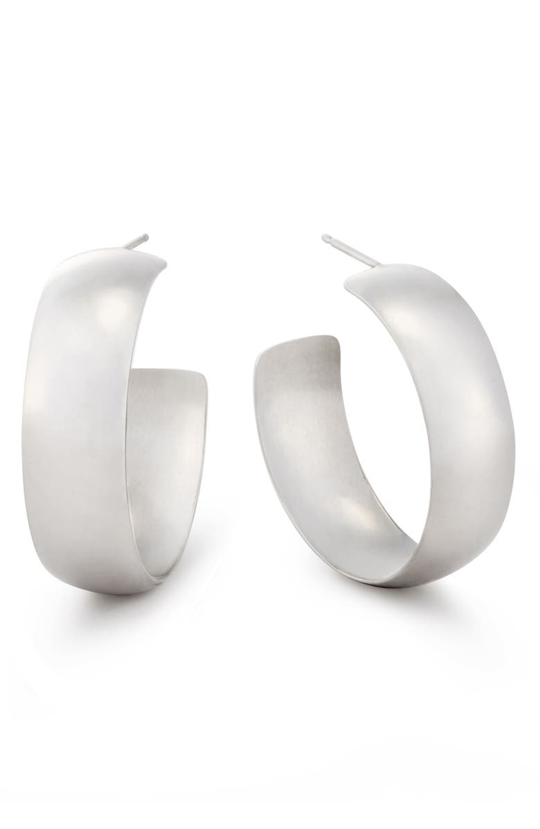 LANA JEWELRY Curve Wide Bubble Hoop Earrings, Main, color, WHITE GOLD