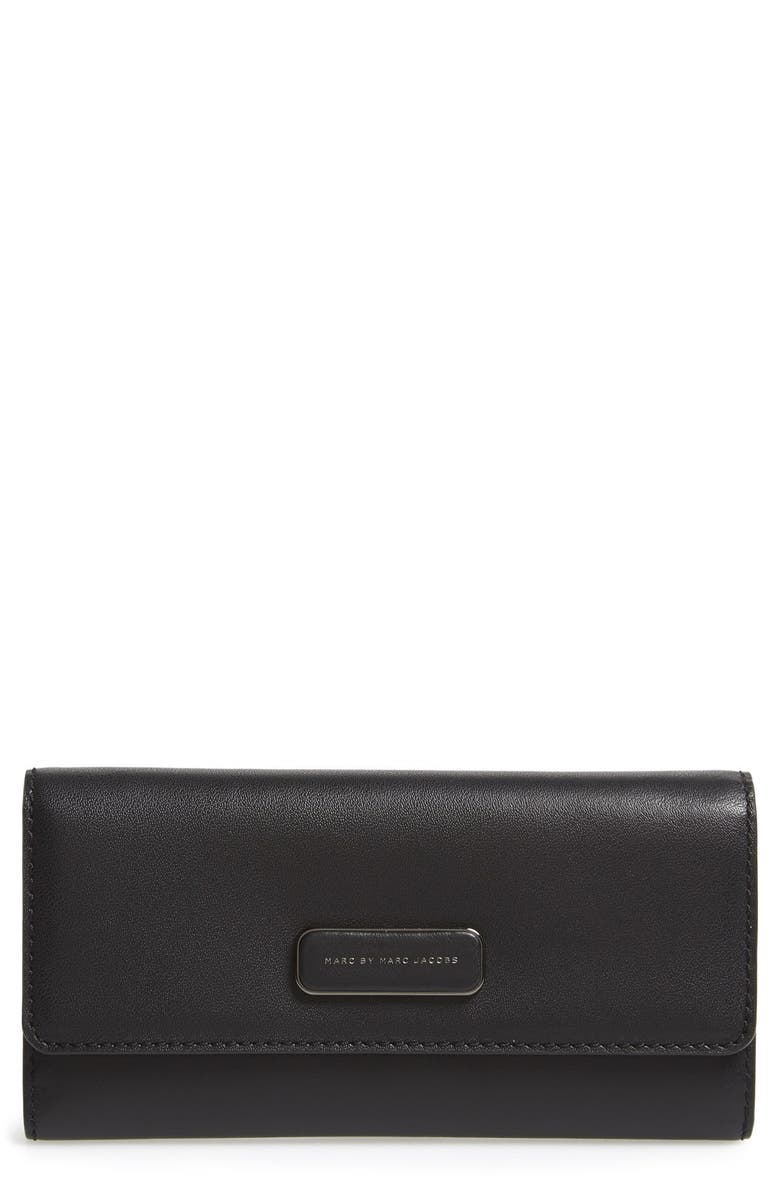 MARC JACOBS MARC BY MARC JACOBS Trifold Flap Wallet, Main, color, 001