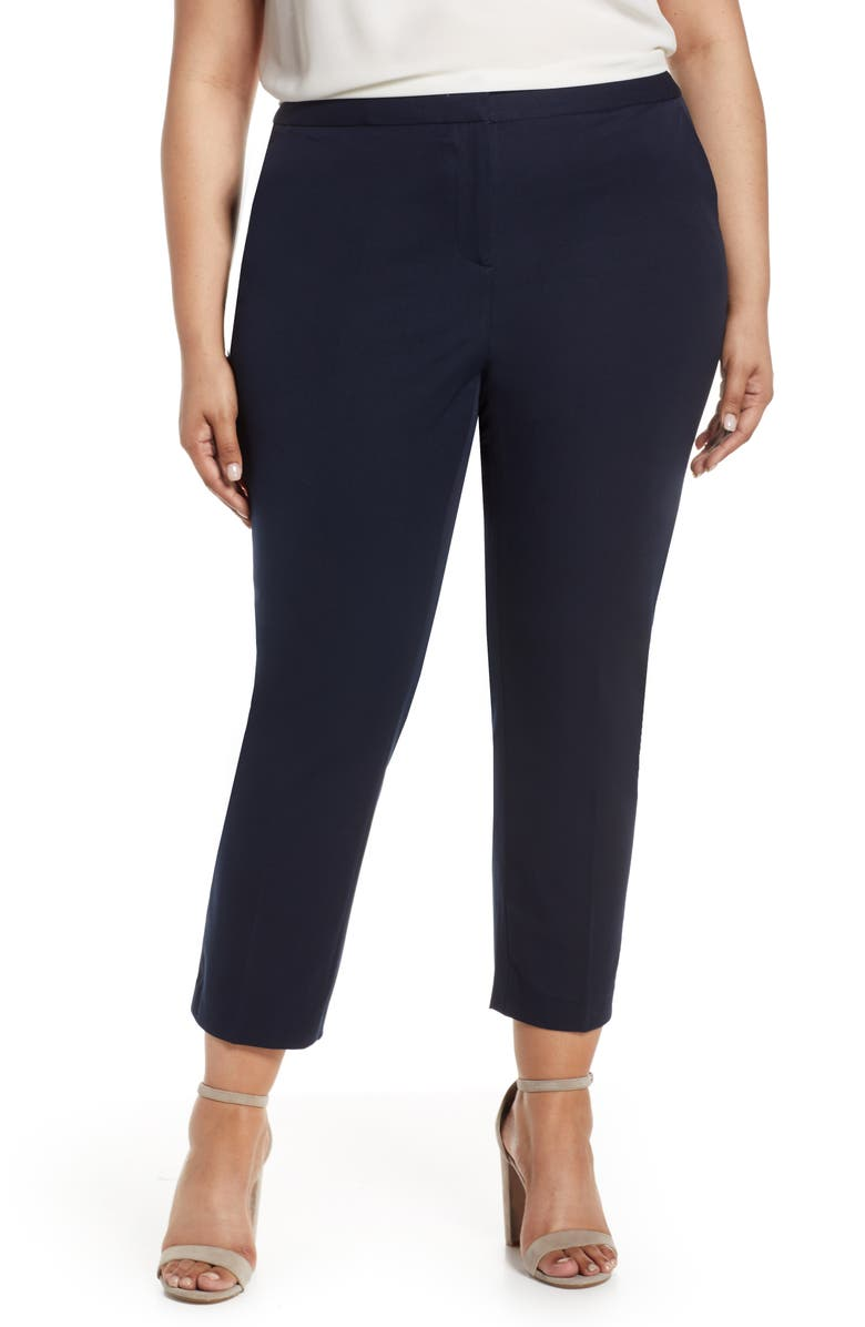 VINCE CAMUTO Stretch Twill Crop Pants, Main, color, CLASSIC NAVY