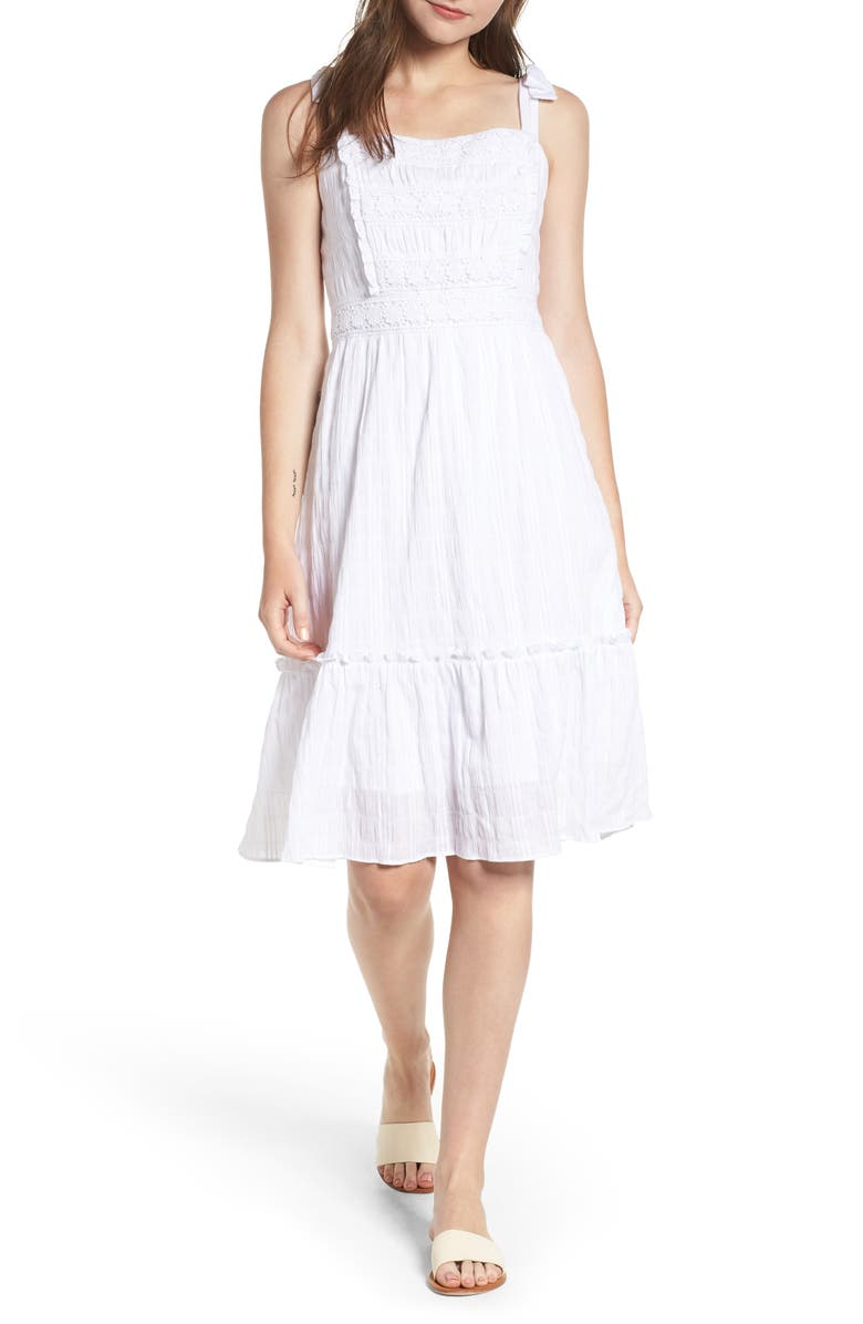 CUPCAKES AND CASHMERE Tie Strap Dress, Main, color, WHITE