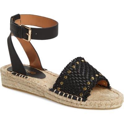 Kensie Alabama Studded Espadrille Ankle Strap Sandal- Black