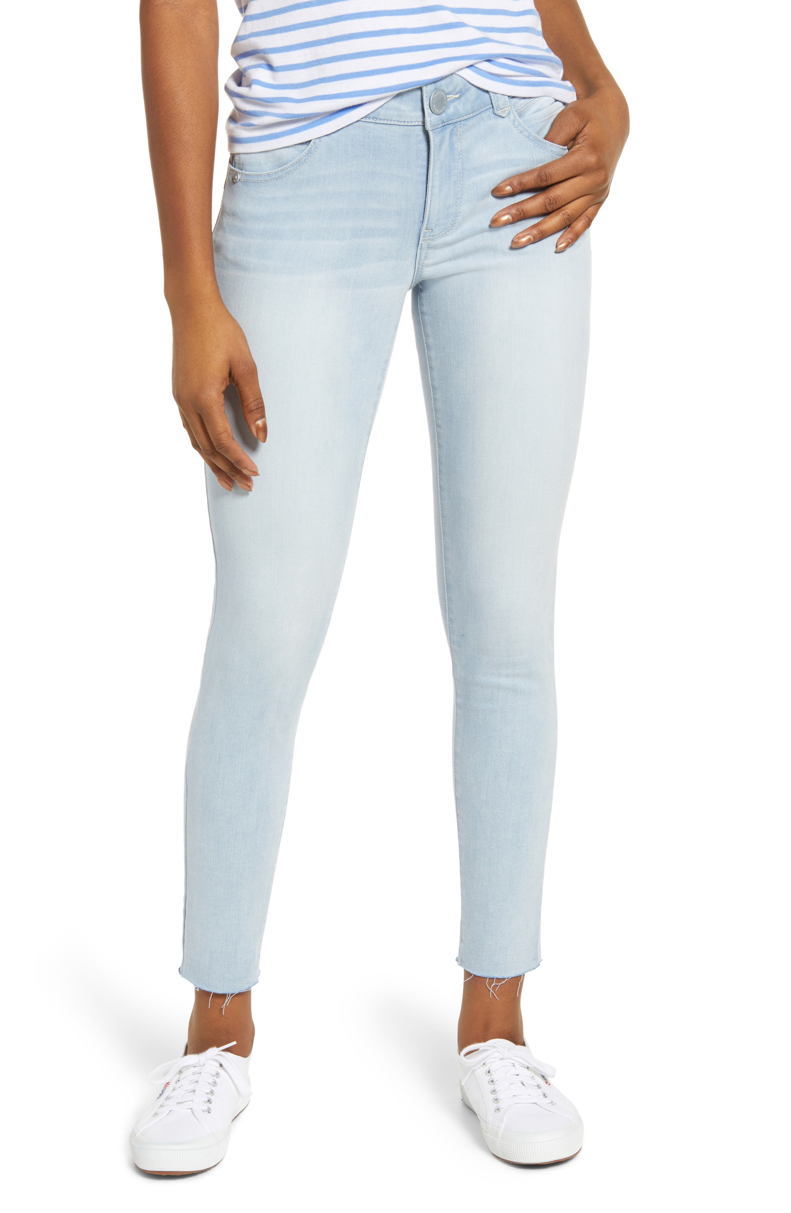 Ab-Solution Skinny Jeans, Main, color, LIGHT BLUE