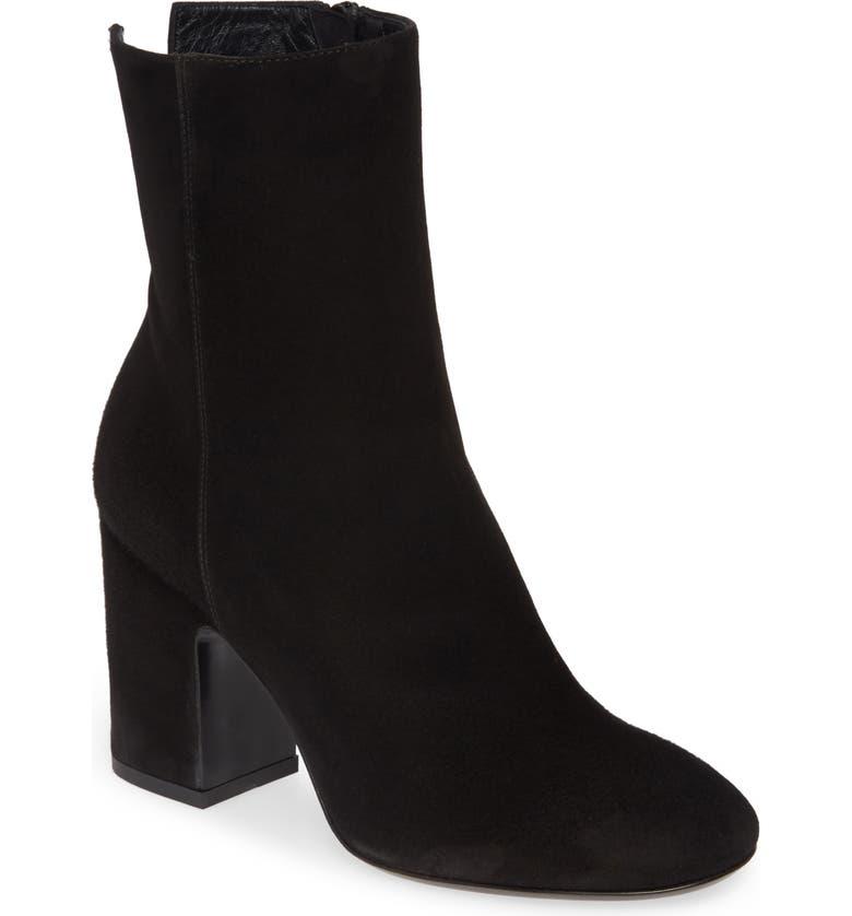 AGL Block Heel Boot, Main, color, BLACK SUEDE