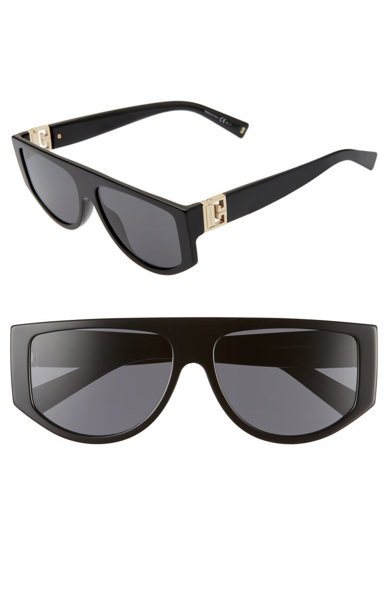 GIVENCHY 56mm Flat Top Sunglasses, Main, color, BLACK/ BLACK