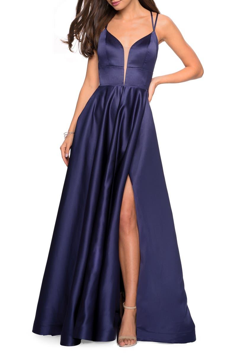 LA FEMME Strappy Back Satin Evening Dress, Main, color, NAVY