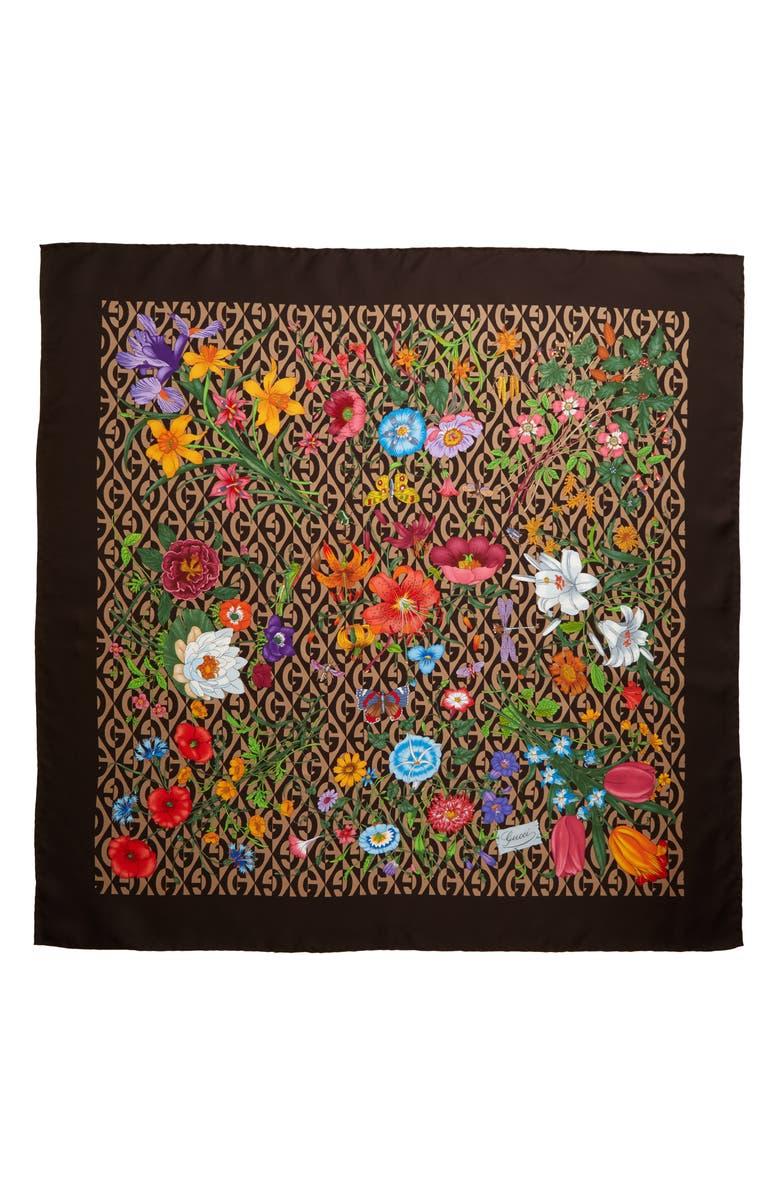 GUCCI Flora Privilege Silk Twill Scarf, Main, color, BEIGE/ DARK BROWN