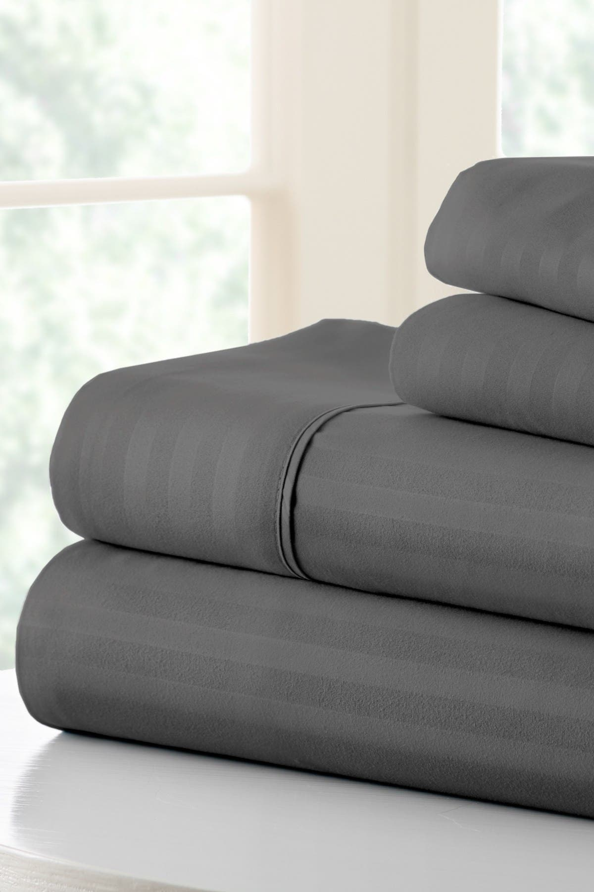 Image of IENJOY HOME Hotel Collection Premium Ultra Soft 4-Piece Striped King Bed Sheet Set - Gray
