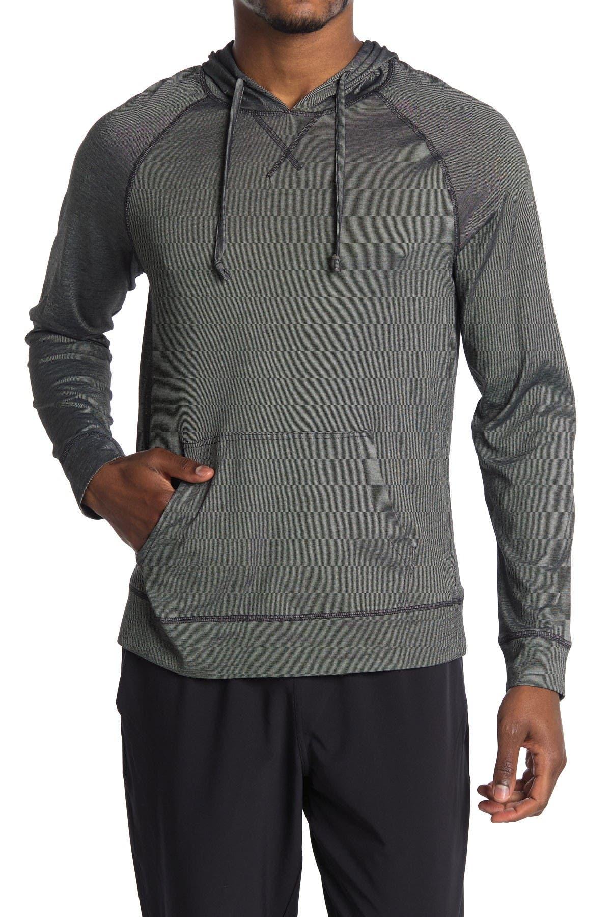 Image of Public Opinion Fineline Hooded Long Sleeve Shirt