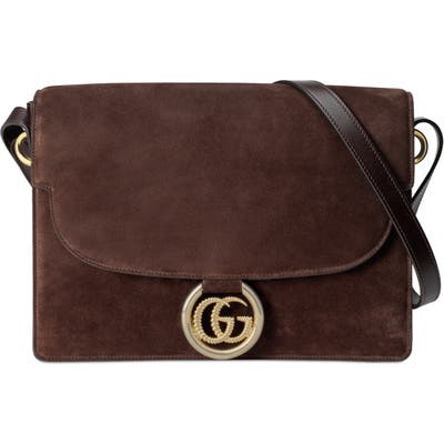 Gucci Medium Gg Ring Suede Shoulder Bag - Brown
