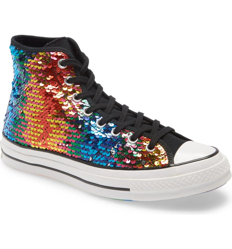 CONVERSE Chuck Taylor<sup>®</sup> All Star<sup>®</sup> 70 High Top Pride Sneaker, Main, color, WHITE/ BLACK/ UNIVERSITY RED