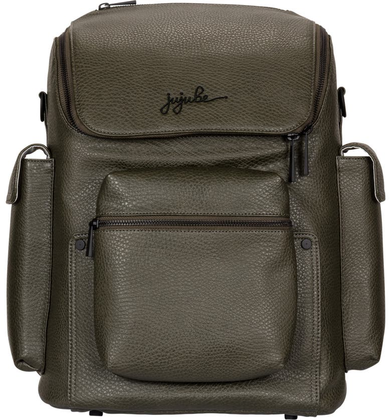JU-JU-BE Ever Collection Forever Faux Leather Diaper Backpack, Main, color, OLIVE