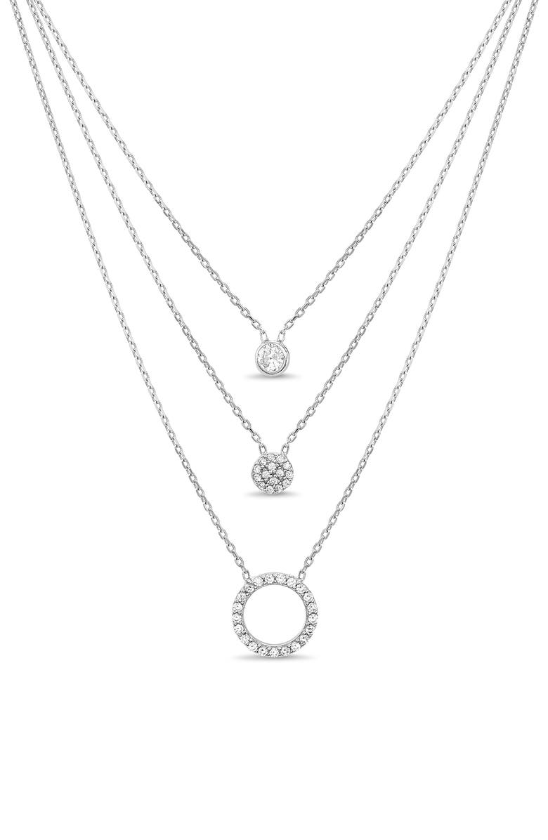 LESA MICHELE Pavé Circle Triple Layer Necklace, Main, color, SILVER