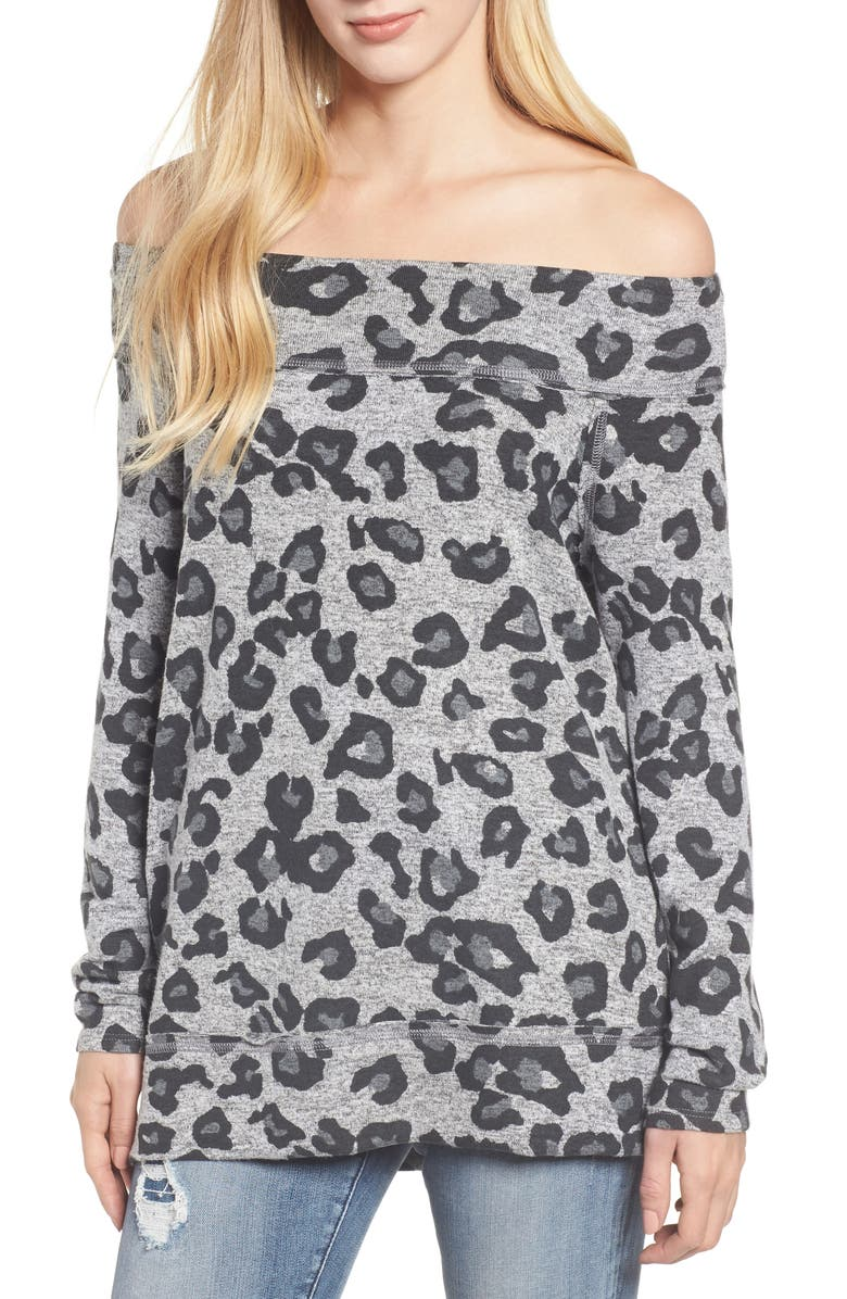 GIBSON x Living in Yellow Mary Fleece Off the Shoulder Top, Main, color, GREY LEOPARD