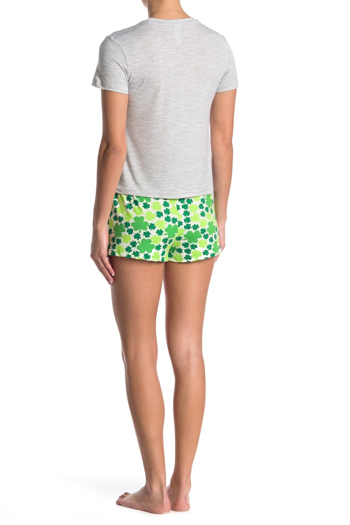 Image of FRENCH AFFAIR Four Leaf Clover Print Short Sleeve T-Shirt & Shorts Pajama 2-Piece Set