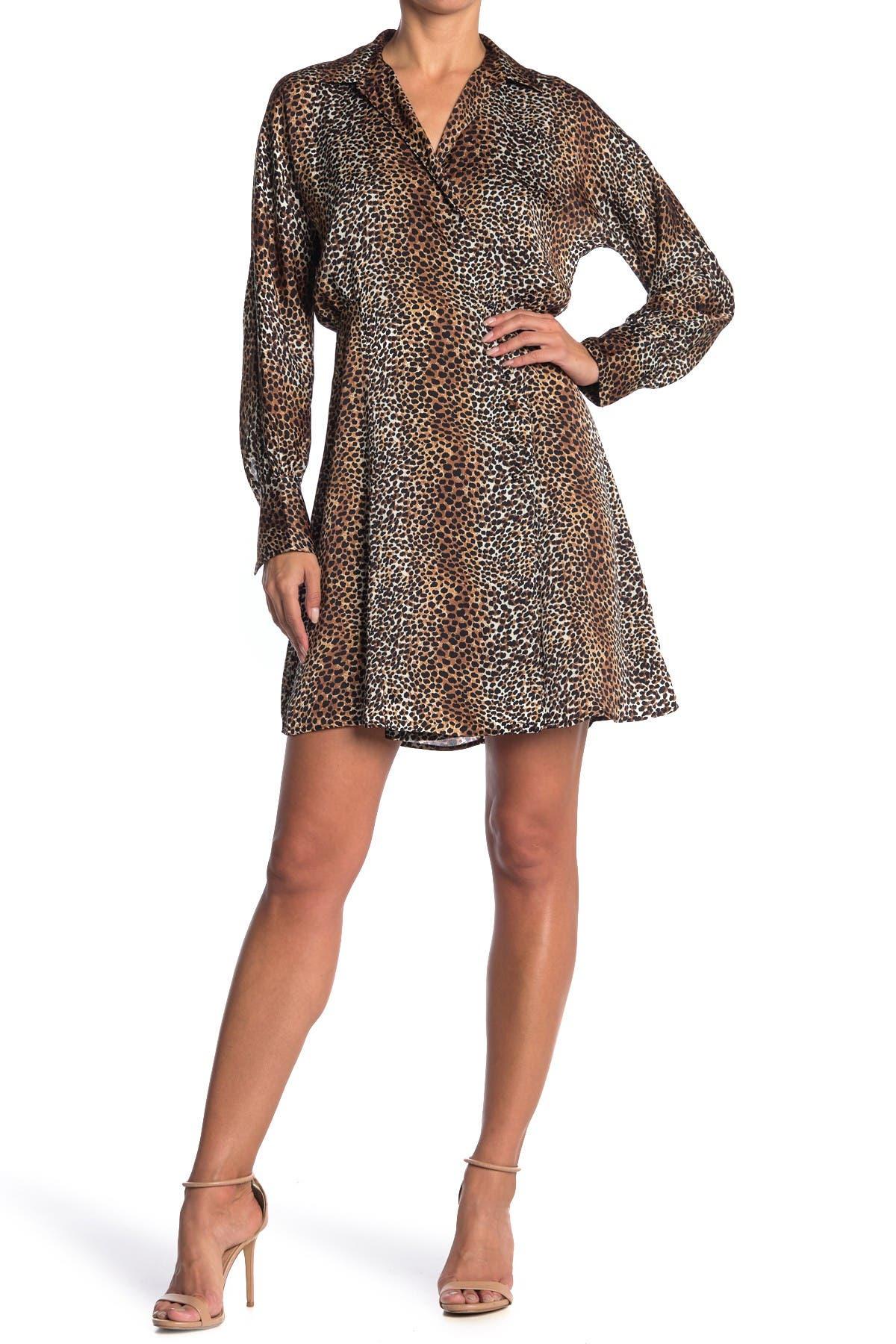 Image of Equipment Harmon Leopard Print Shirt Dress