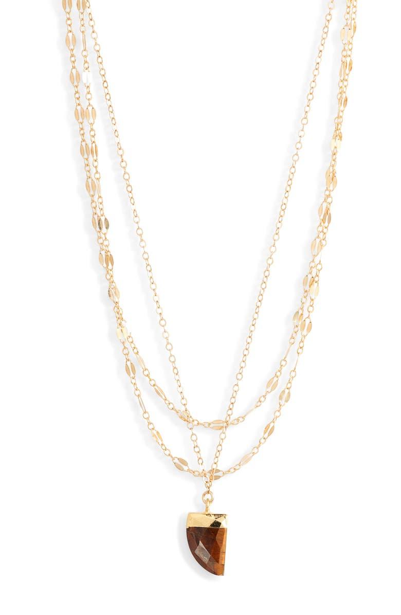MARIDA Florus Layered Pendant Necklace, Main, color, TIGERS EYE/ GOLD