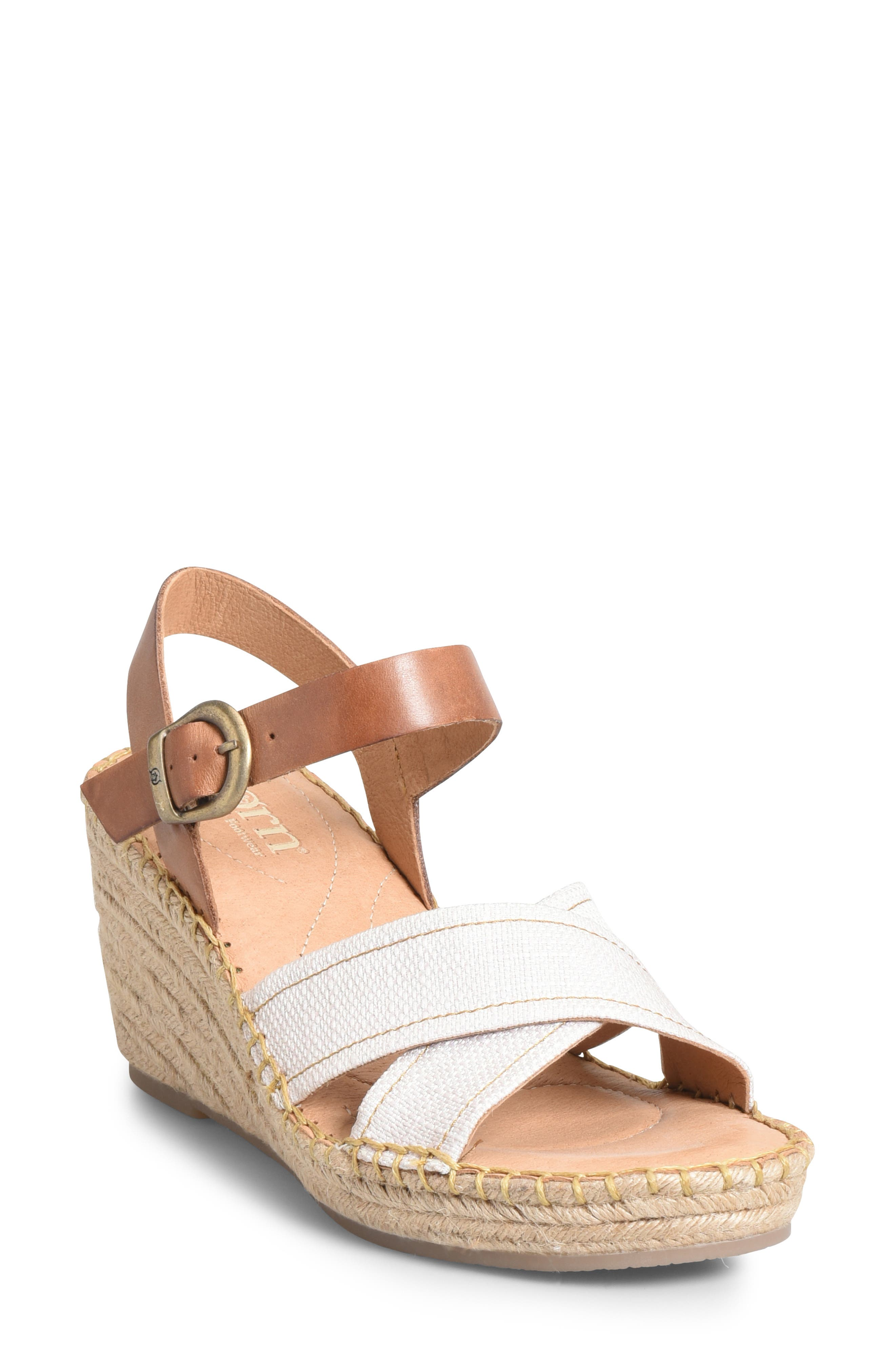 Payette Wedge Sandal, Main, color, NATURAL/ TAN LEATHER