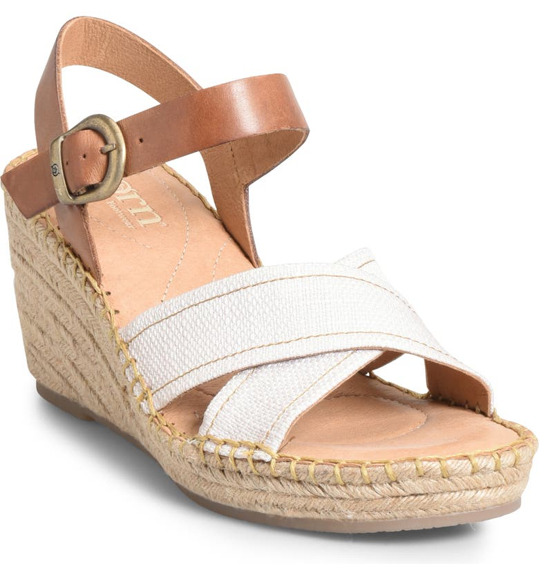 BØRN Payette Wedge Sandal, Main, color, NATURAL/ TAN LEATHER