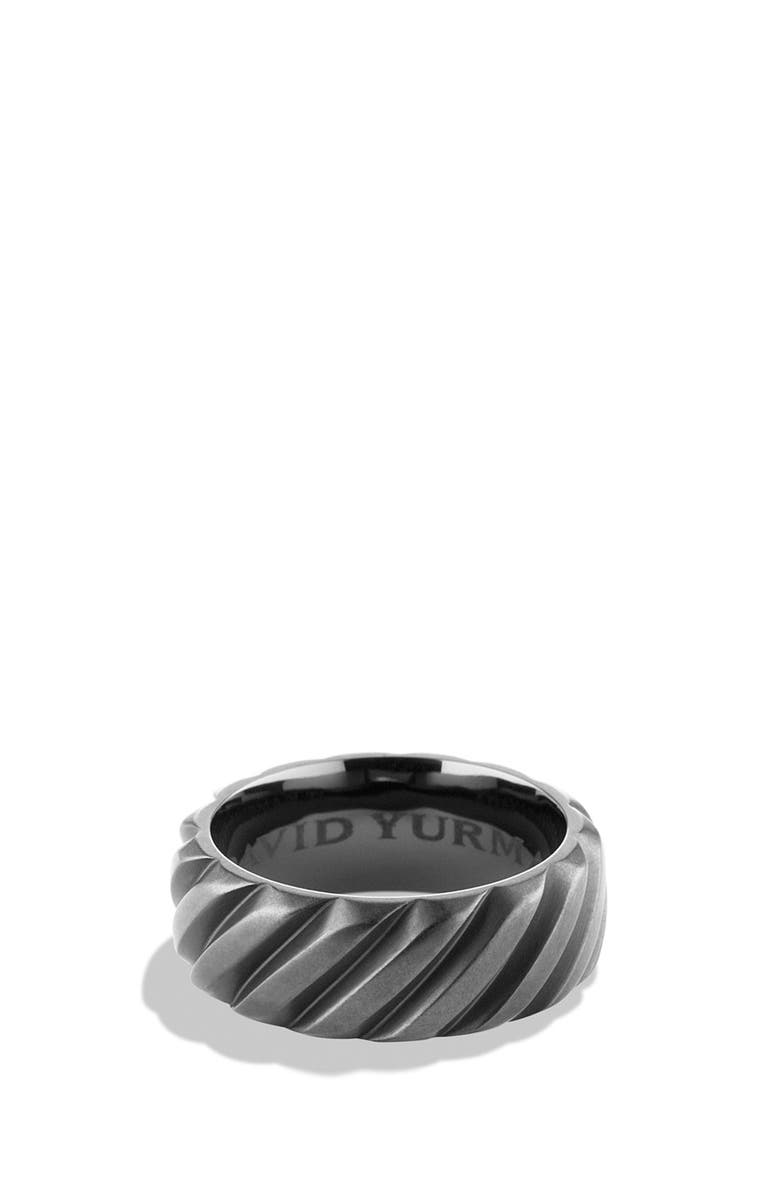 DAVID YURMAN 'Modern Cable' Wide Band Ring, Main, color, BLACK TITANIUM