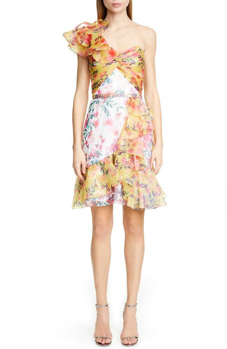 MARCHESA NOTTE Floral Print One-Shoulder Cocktail Dress, Main, color, IVORY