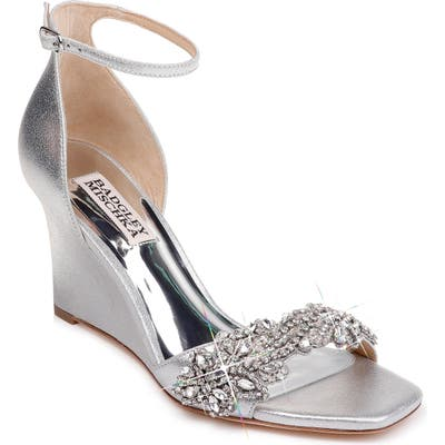 Badgley Mischka Aliyah Embellished Ankle Strap Wedge Sandal, Metallic