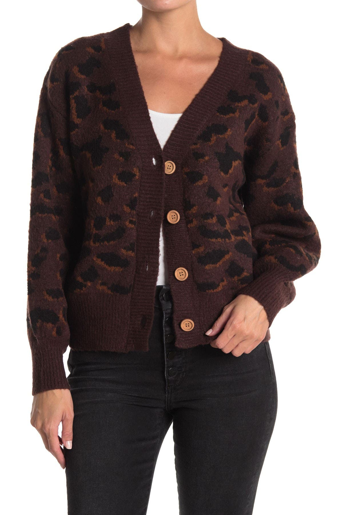 Image of Double Zero Leopard Button Front Cardigan