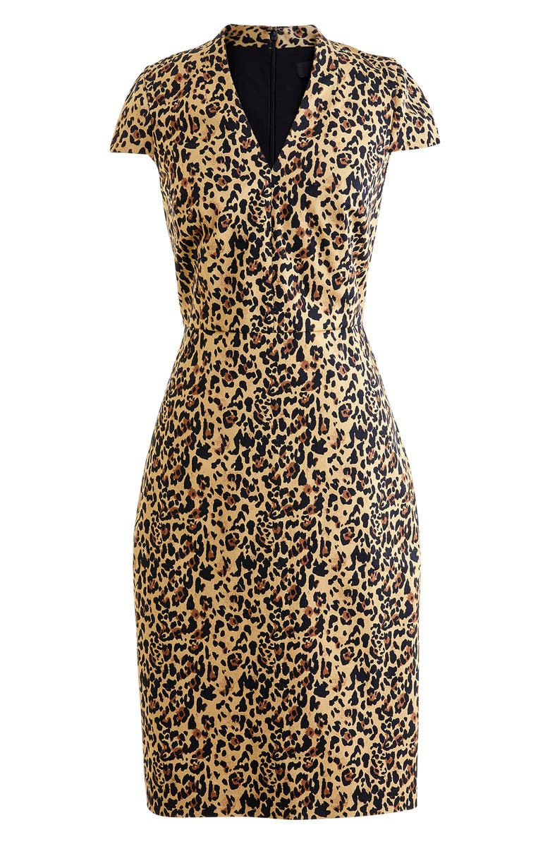 J.CREW Leopard V-Neck Sheath Dress, Main, color, OCELOT MULTI