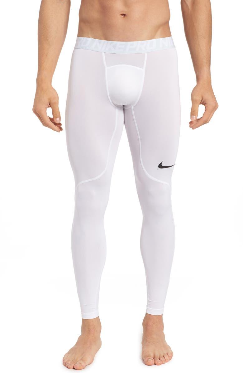 NIKE Pro Athletic Tights, Main, color, WHITE/ PURE PLATINUM/ BLACK