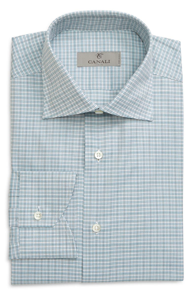 CANALI Regular Fit Plaid Dress Shirt, Main, color, GREEN