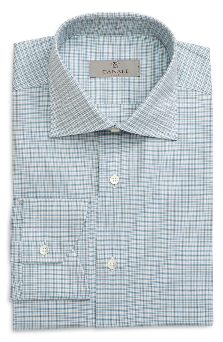 CANALI Regular Fit Plaid Dress Shirt, Main, color, GREEN
