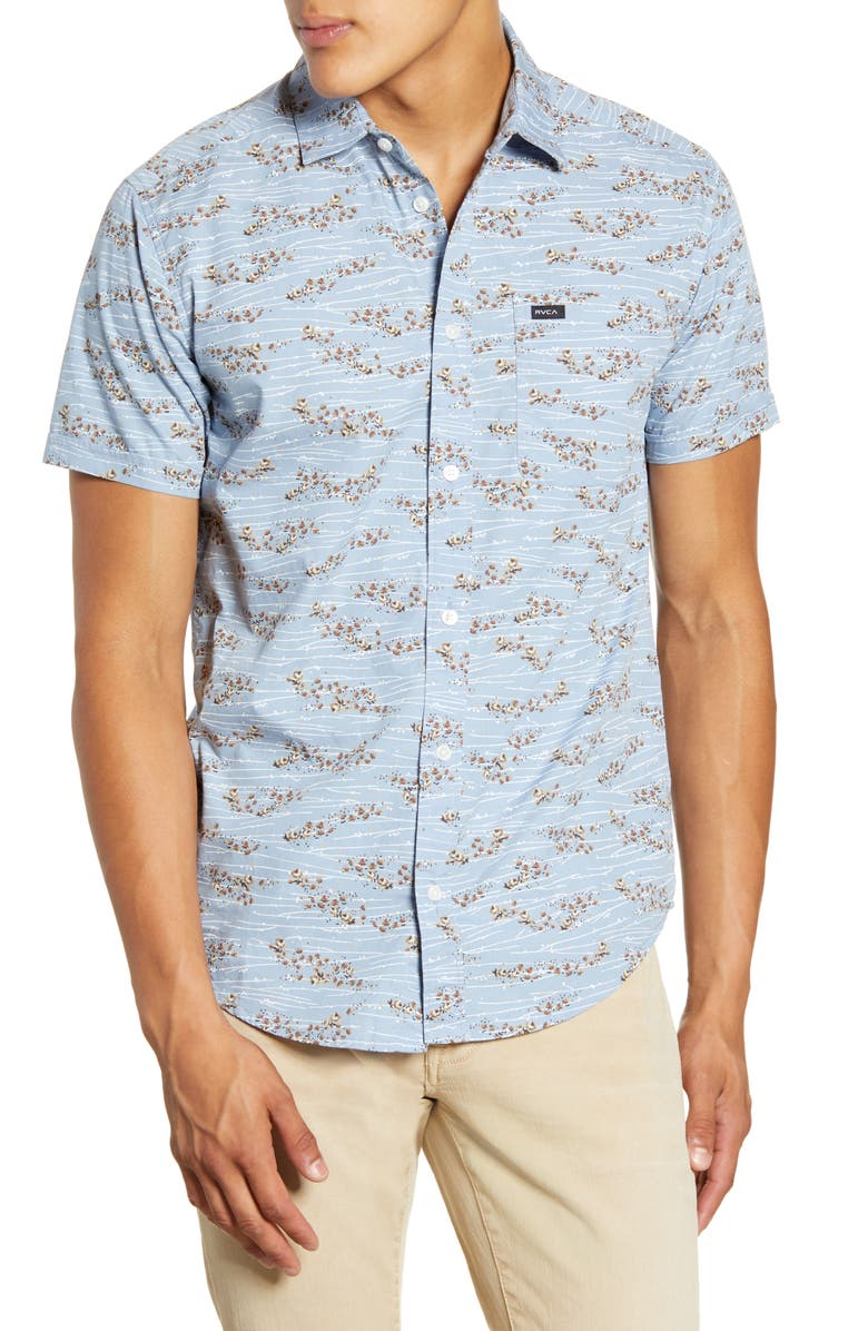 RVCA Camelia Hedge Floral Short Sleeve Button-Up Shirt, Main, color, DUSTY BLUE