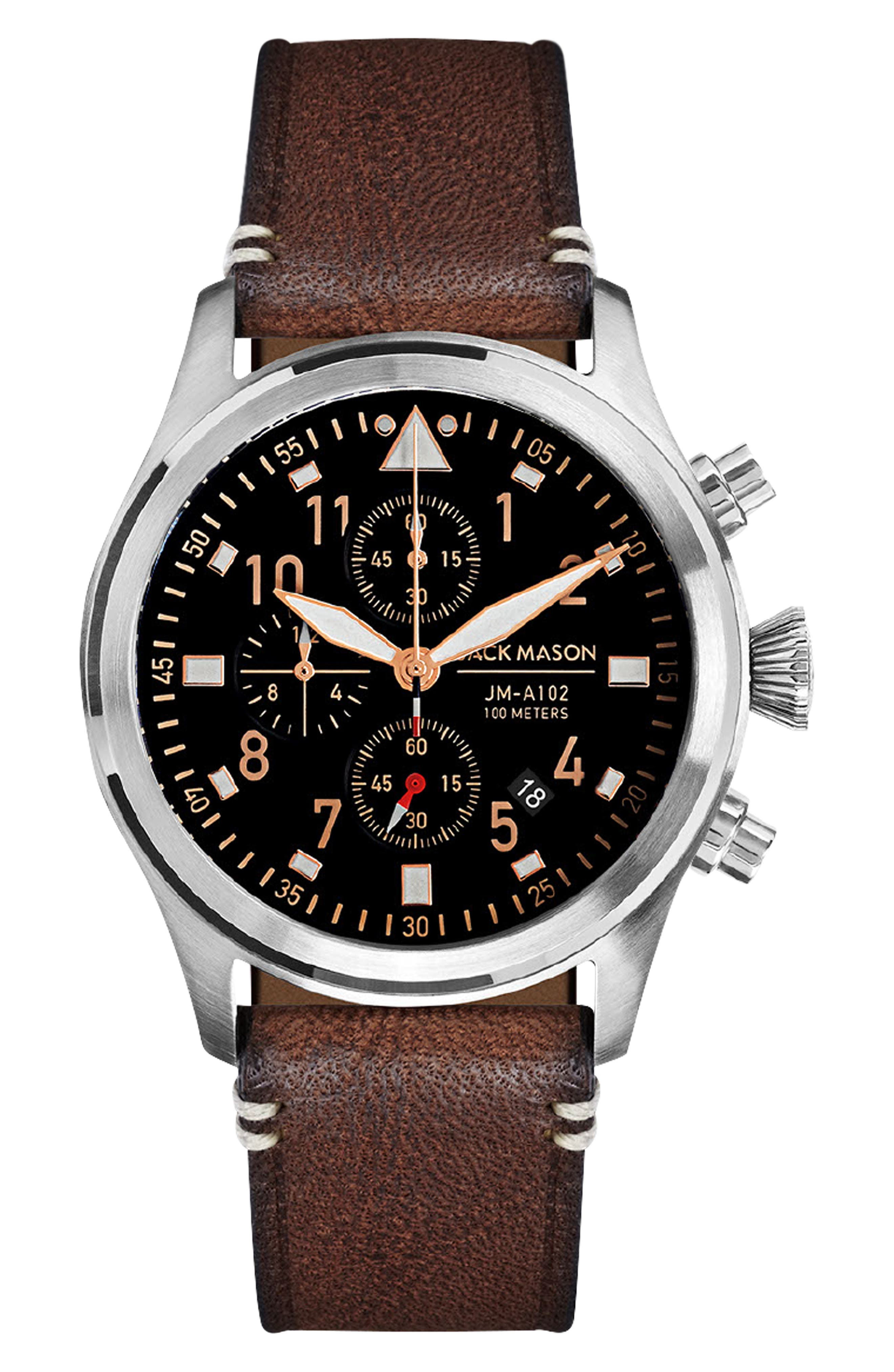 ,                             Aviation Leather Strap Chronograph Watch,                             Main thumbnail 1, color,                             BLACK