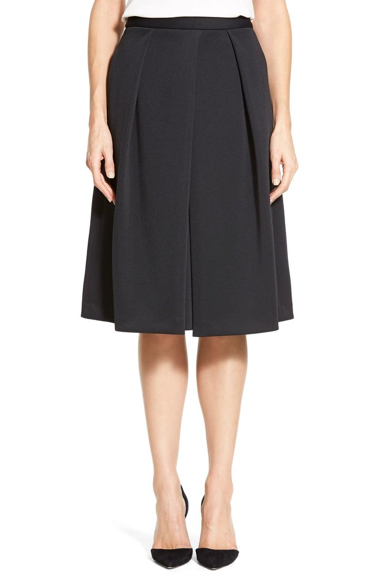 VINCE CAMUTO Pleat Front A-Line Skirt, Main, color, 001