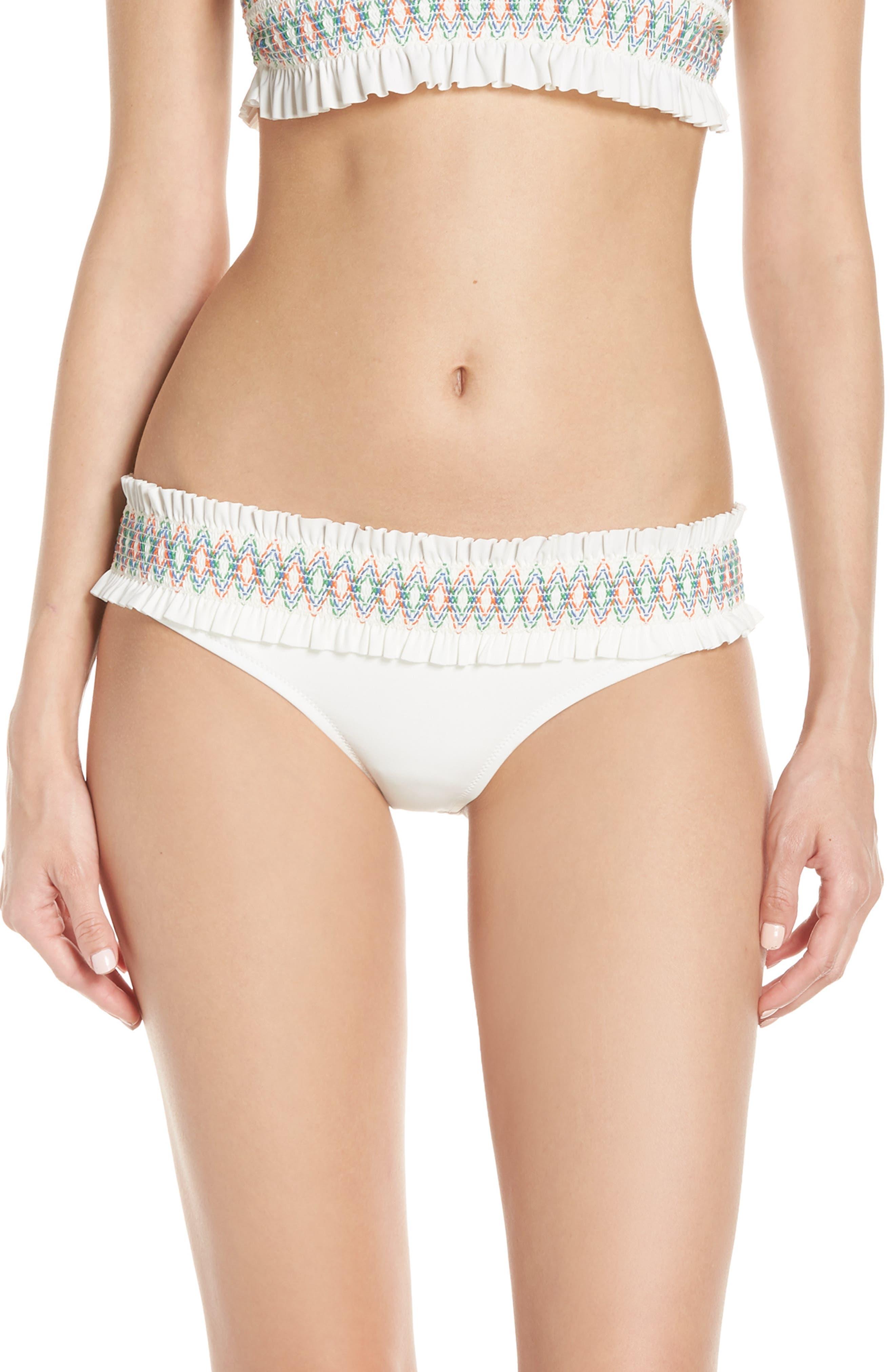 Tory Burch Costa Hipster Bikini Bottoms, Ivory