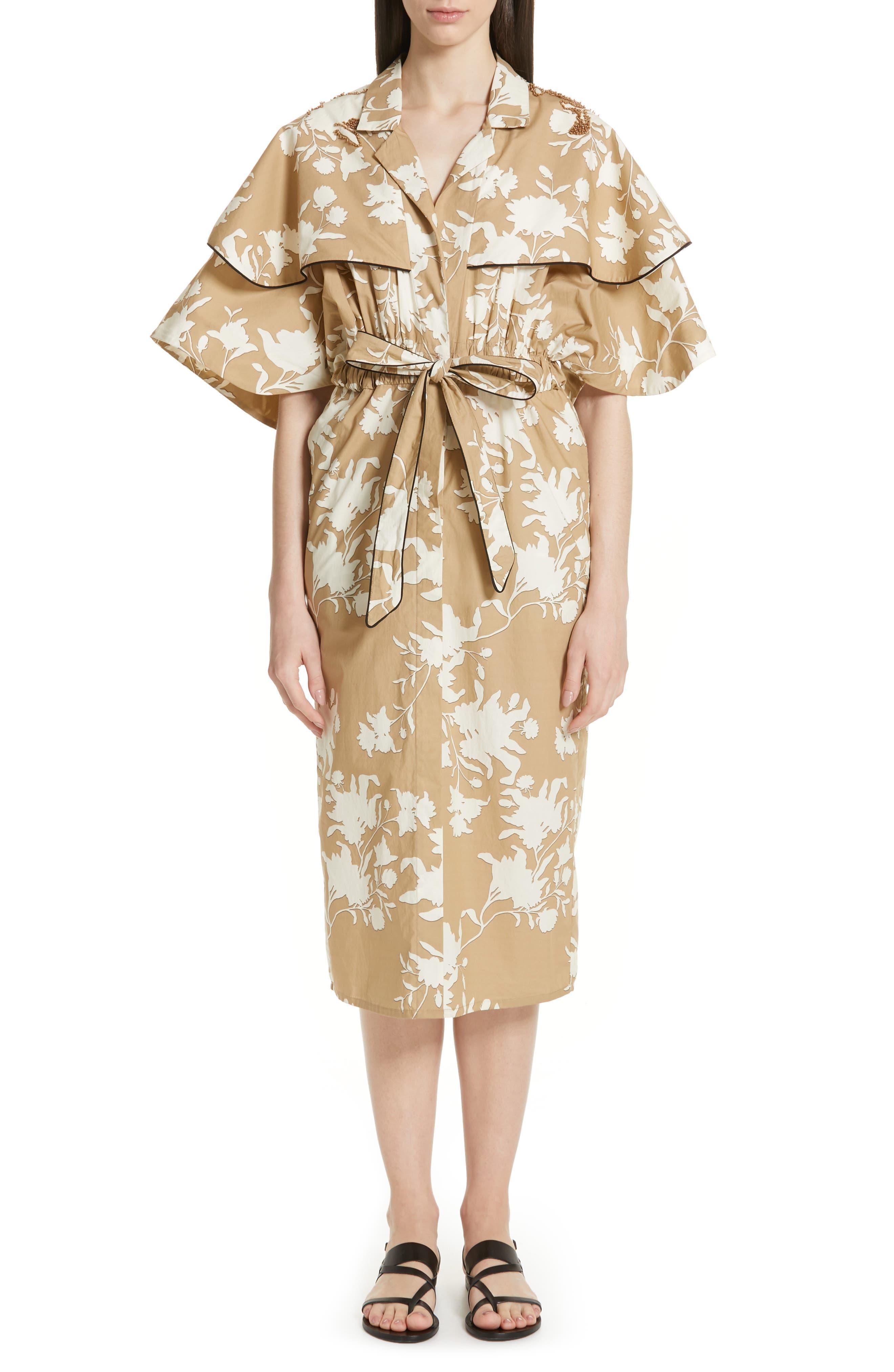 Johanna Ortiz Embellished Floral Print Trench Dress, Brown