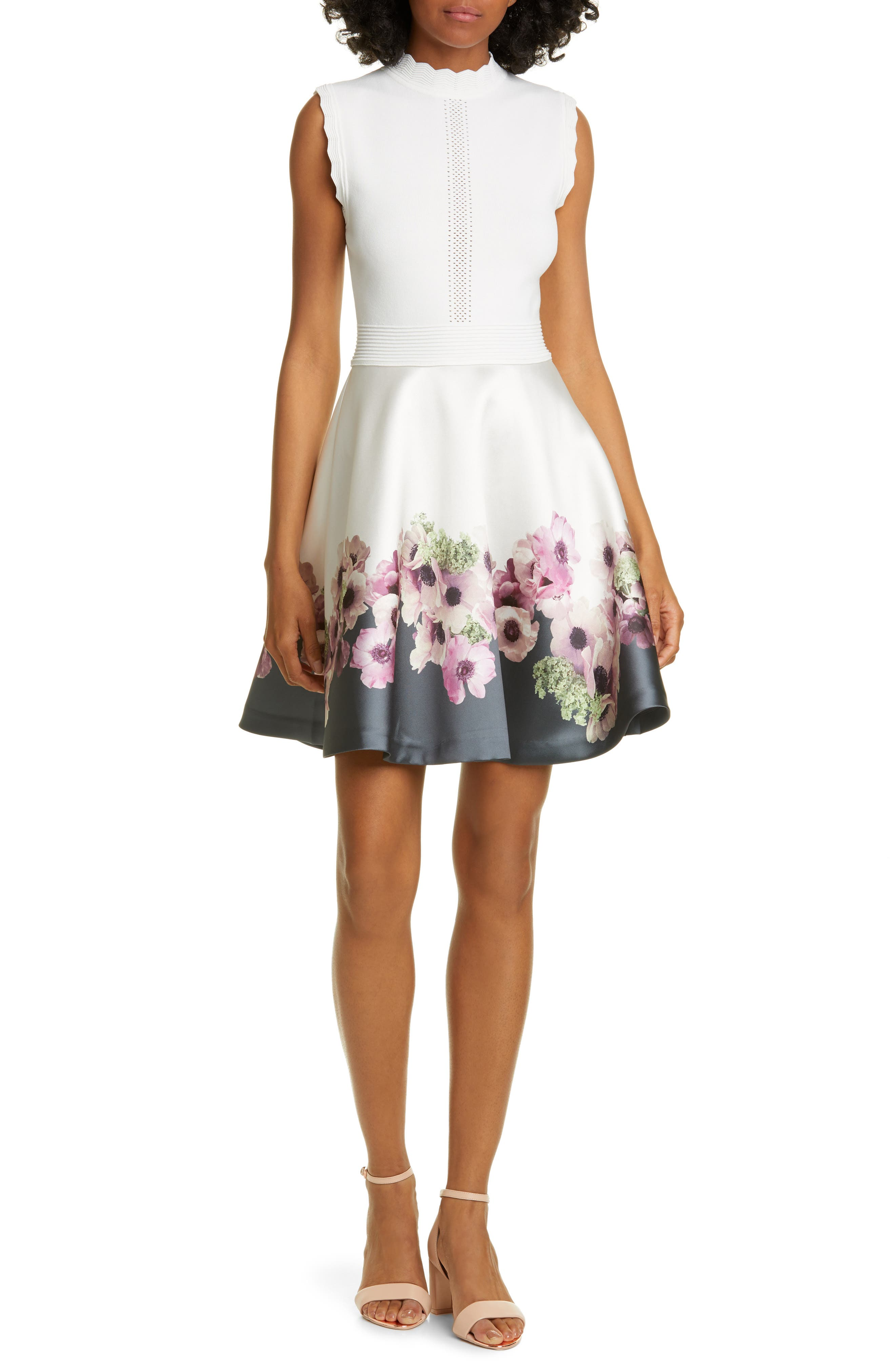 Ted Baker London Janyis Neopolitan Skater Dress, Ivory