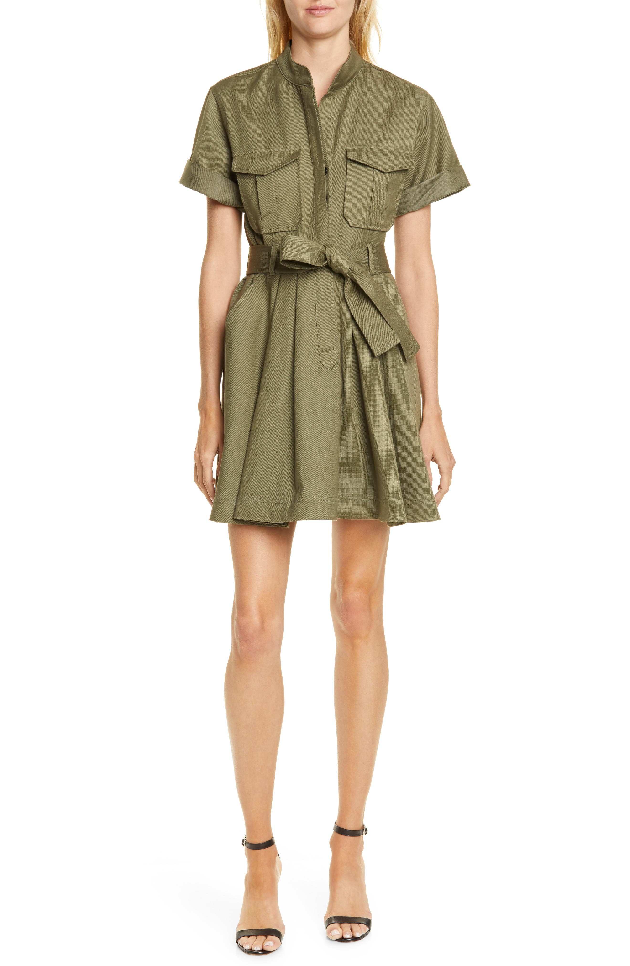 A.l.c. Bryn Belted A-Line Dress, Green