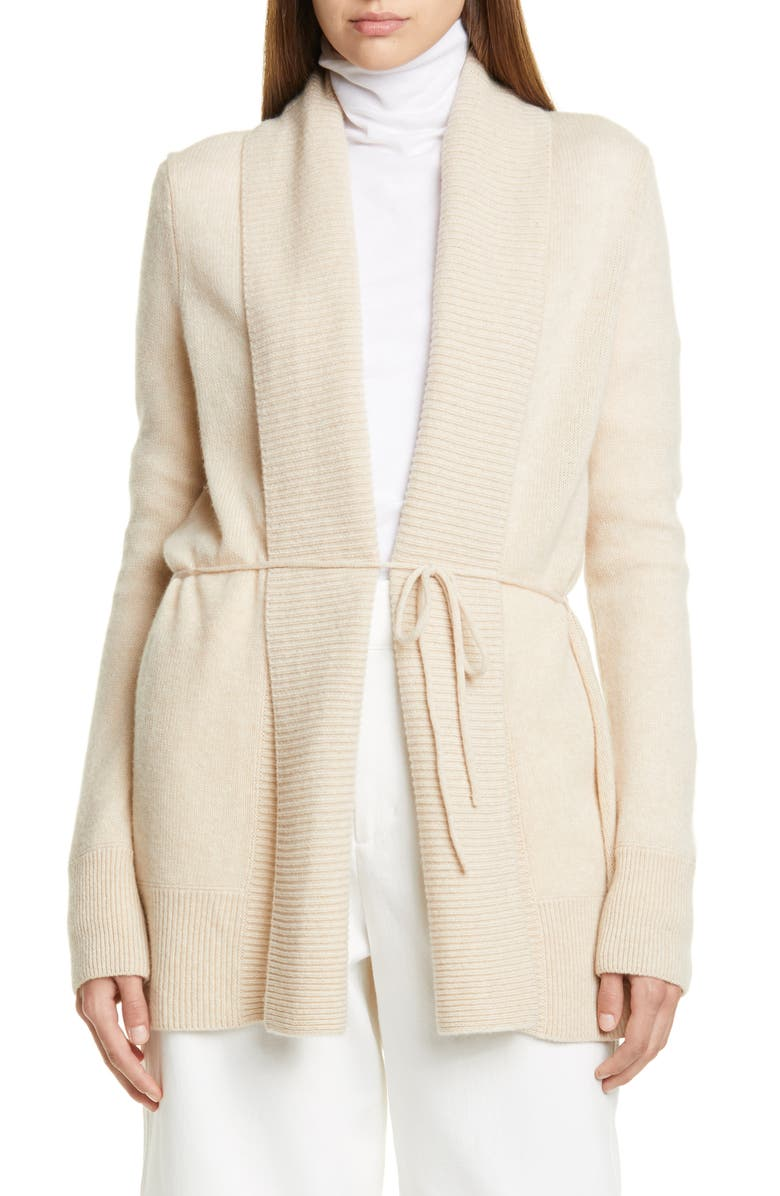 VINCE Rib Front Wool & Cashmere Cardigan, Main, color, HEATHER OAT