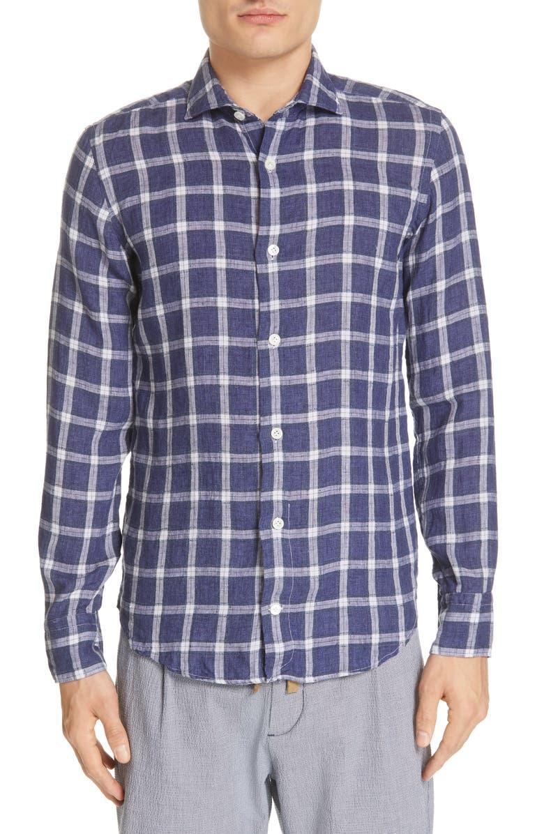 ELEVENTY Trim Fit Windowpane Linen Blend Shirt, Main, color, BLUE