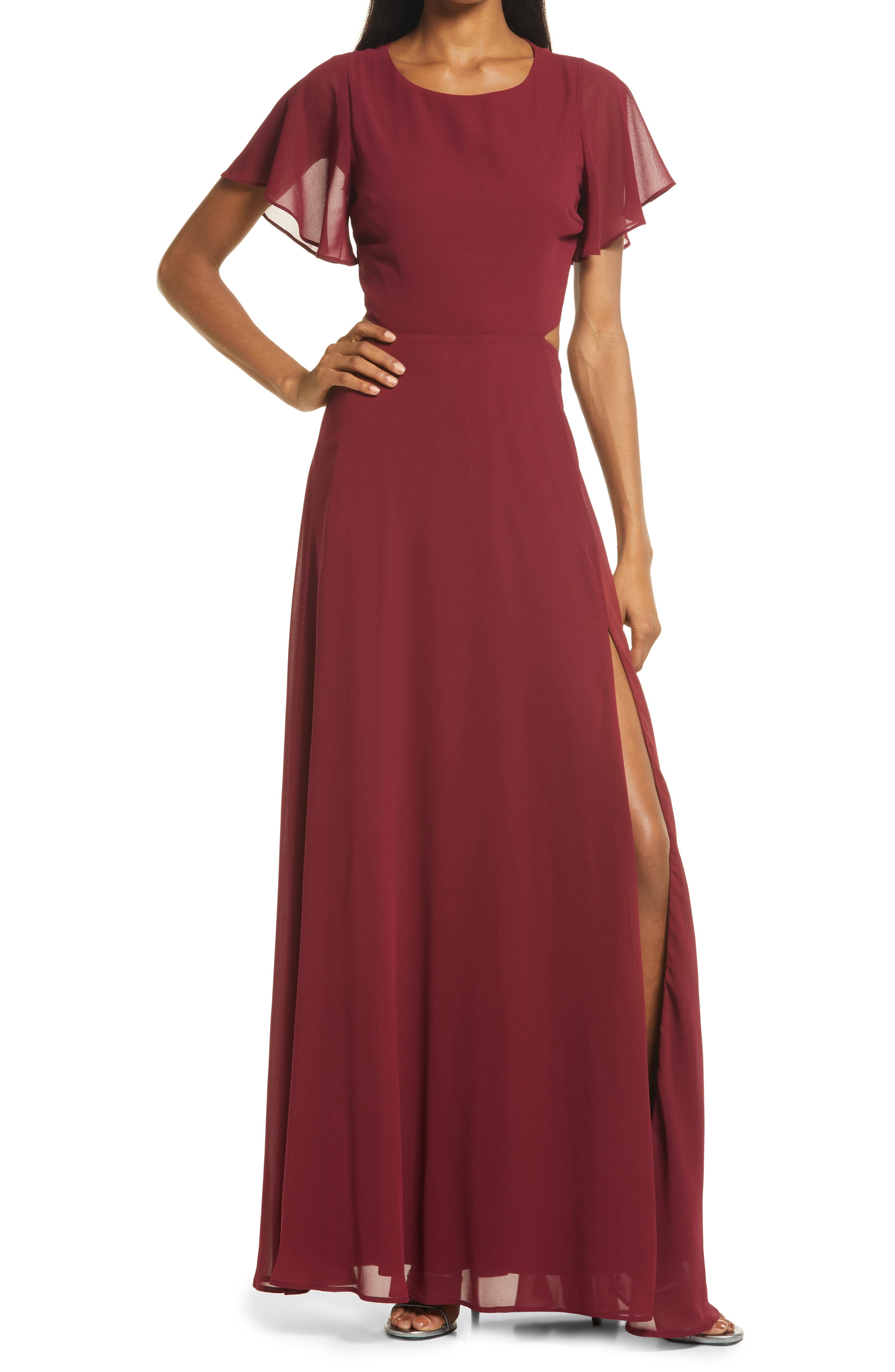 1930s Evening Dresses | Old Hollywood Silver Screen Dresses Womens Lulus Garden Bliss Cutout Evening Gown Size XX-Small - Burgundy $88.00 AT vintagedancer.com