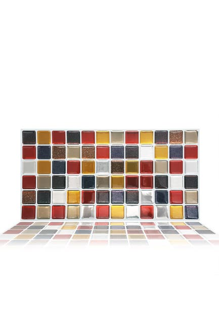 """Image of WalPlus Cream Brown and Cherry Glitter Mosaic 3D Sticker Tile - 30cm x 15cm (11.8"""" x 6"""") - 12-Piece in a pack"""