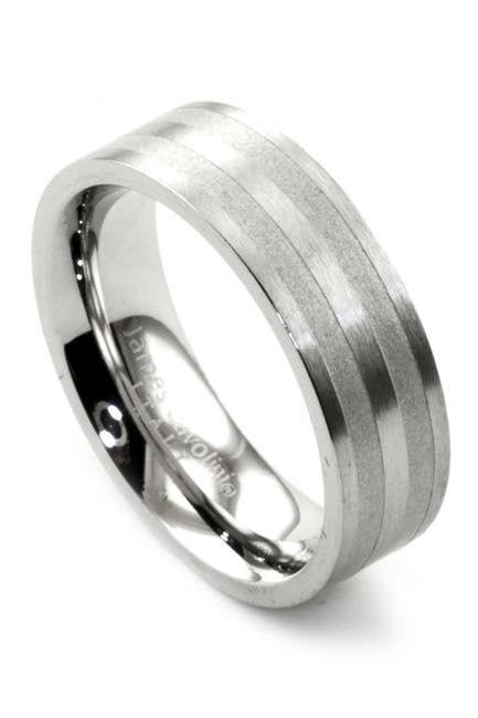 Image of JAMES CAVOLINI ITALY Stainless Steel Stripe Brushed Band Ring