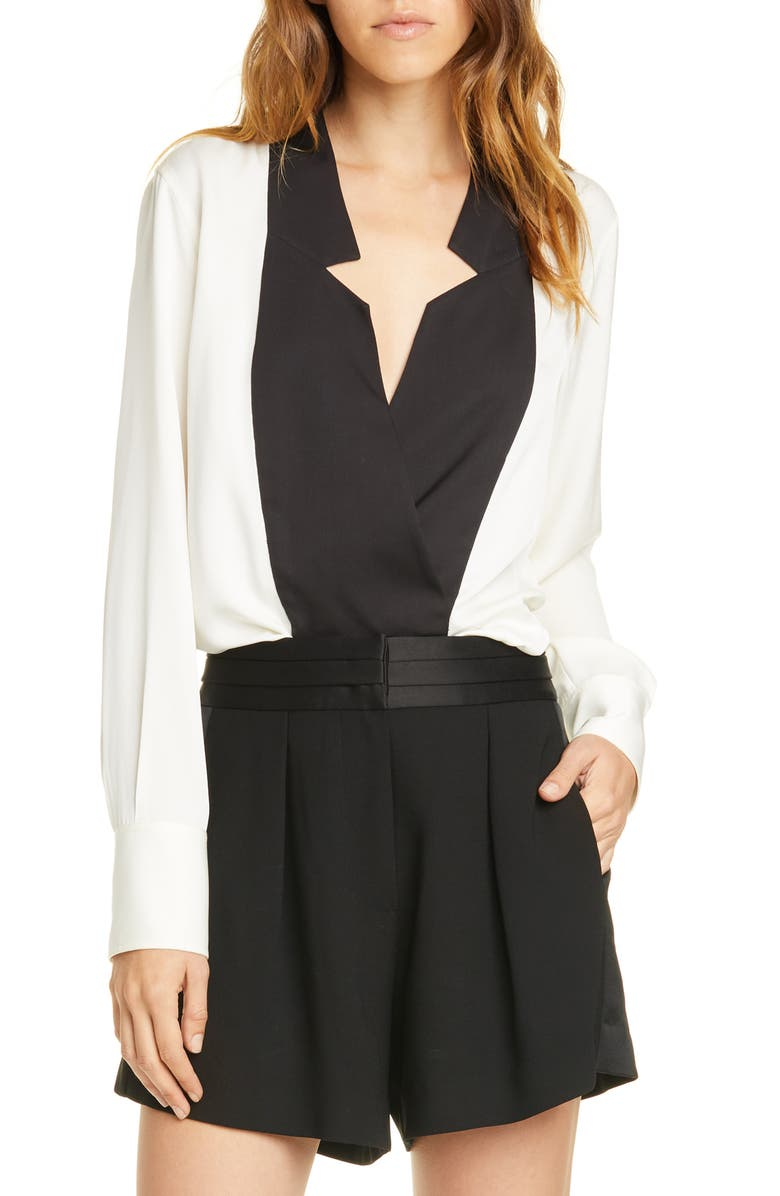Contrast Inverted Notch Collar Silk Top by Frame