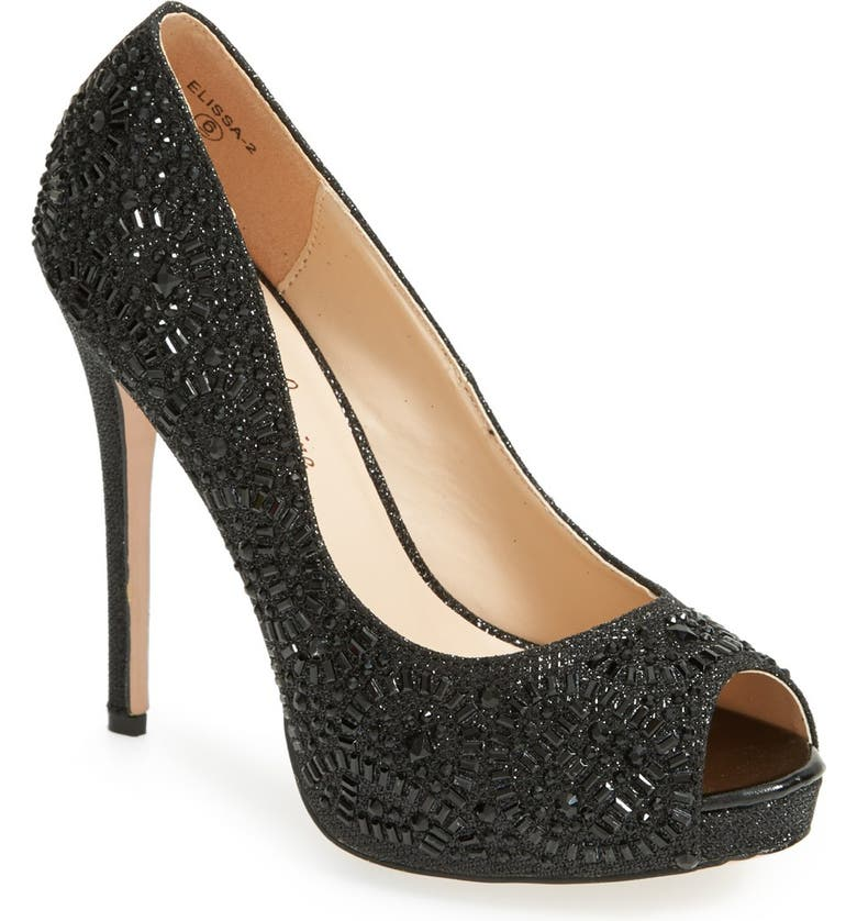 LAUREN LORRAINE 'Elissa' Crystal Peep Toe Pump, Main, color, 002