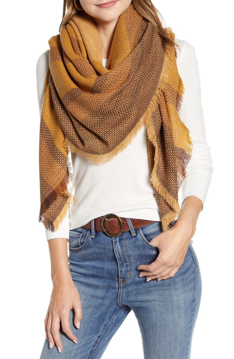 TREASURE & BOND Basket Weave Scarf, Main, color, TAN COMBO