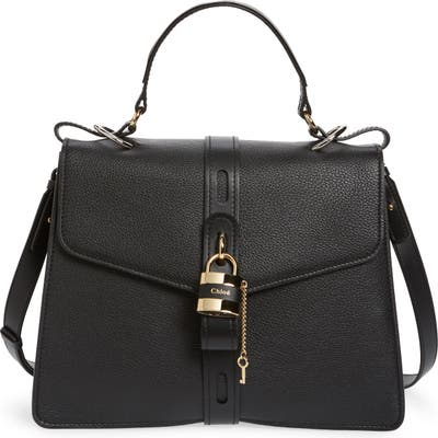 Chloe Aby Large Leather Shoulder Bag - Black