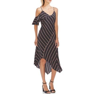 Vince Camuto Asymmetrical Stripe Dress, Black